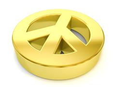 gold peace symbol - stock illustration