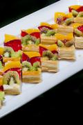 finger food, dessert and fruits cocktail - stock photo