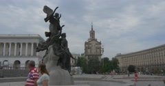The Impressive View on the Bronze Monument to the Founders of Kyiv, Called as Stock Footage