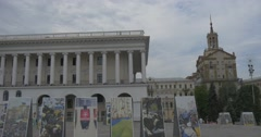 Pedestrians Moving Along Maidan Nezalezhnosti With Its Impressive Photo Stock Footage