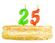 birthday cake with candles number twenty five - stock photo