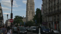 Tour Saint-Jacques and Rue de Rivoli 2 Stock Footage