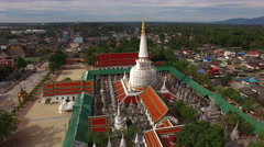 Fly around big pagoda temple, aerial view Stock Footage