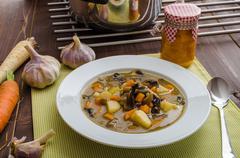 Honest homemade potato soup - stock photo