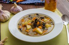 Honest homemade potato soup Stock Photos