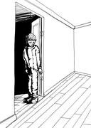 Outline of Grinning Teen in Empty Room - stock illustration