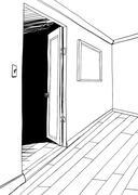 Room with Dark Doorway Outline Stock Illustration