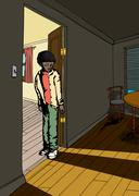 Teen with Grin in Doorway Stock Illustration