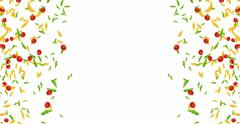 Frame of italian pasta, tomato and basil falling down on white background Stock Footage