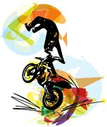 Stock Illustration of Extreme motocross racer by motorcycle