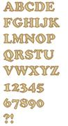 Stock Illustration of The decorative uppercase alphabet and numbers in mosaic design