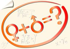 Gender mathematical equation with female and male symbol Stock Illustration