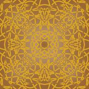Brown fine patterned tile in art deco design - stock illustration
