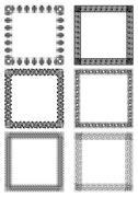 A set of art deco frames in white and black design - stock illustration