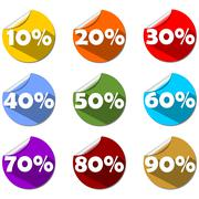 A set of percent label on rolled paper circle in different colors. For use in Stock Illustration