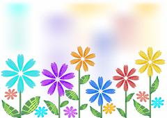 Spring background with futuristic flowers - stock illustration