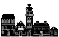 Black and white silhouette of the historic town - stock illustration