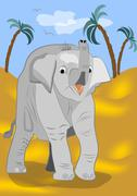 Cute baby elephant went for a walk in the desert Stock Illustration