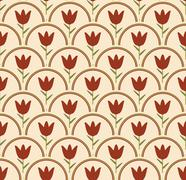 Seamless background with tulip in circle in nostalgic colors Stock Illustration