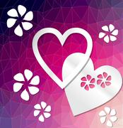 Modern deep purple background with heart cut out of paper - stock illustration