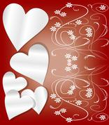 Valentine day background with paper hearts and art deco patterns - stock illustration