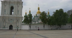 Ancient St.sophia Bell Tower Withfabulous Golden Domes of the Orthodox Stock Footage