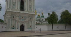 St.sophia Bell Tower With Impressive Golden Domes of the Orthodox Cathedral in Stock Footage