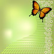 Joyful green bokeh spring background with yellow butterfly and small white fl - stock illustration