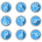A set of icons with hand gestures in modern flat design with long shadow - stock illustration