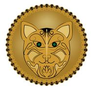 Ritual amulet with cat head in golden circle - stock illustration