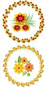 Flower wreath and motifs for your spring and summer design, cheerful colors - stock illustration