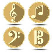A set of music symbol in circle with long shadow. Treble clef, bass clef, mus Piirros