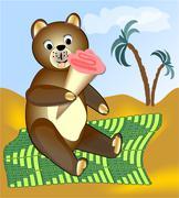 Teddy bear eating ice cream on green blanket - stock illustration