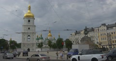The Impressive View on St.sophia Bell Tower, the Bohdan Khmelnytsky Monument, Stock Footage