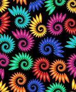 Vector multicolored rainbow snail patterns on black background. High contrast Stock Illustration