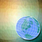 Background with globe motif - western hemisphere on triangle patterned area Stock Illustration