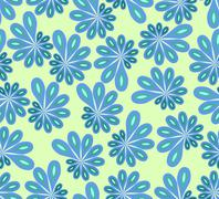 Background in abstract design with blue and green asymmetric fowers Stock Illustration