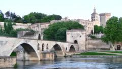 Pont Saint Benezet or Avignon Bridge, Provence, France Stock Footage