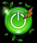 Power Button with leaves and a butterfly Stock Photos