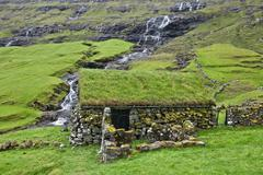 Old stone house in Faroe Islands - stock photo
