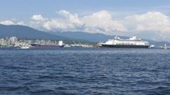 Ocean Liner Ship - Pacific Ocean - Vancouver - 03 Stock Footage