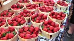Strawberries at local French Market, St Remy, Provence, France Stock Footage