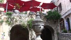 Stock Video Footage of St Paul de Vence fountain, Cote d'Azur, France
