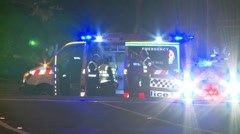 Paramedics Ambulance at Fatal Accident Stock Footage