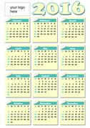 2016 year-round calendar with rolled paper tickets for each month, light yell Stock Illustration
