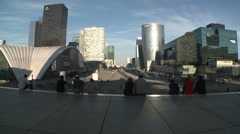 Stock Video Footage of La Grande Arche de la Defense Tourists