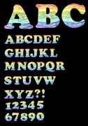 Alphabet - uppercase set in trendy rainbow doodle design, also includes numbe Stock Illustration