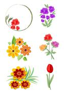Set of vector beautiful small floral ornaments nad motifs in cheerful colors. - stock illustration