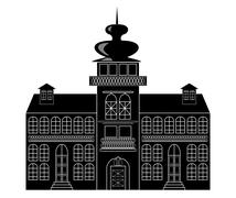 Silhouette of a castle in baroque or renaissance Stock Illustration