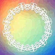 Trendy background on rainbow triangle area with a white lace frame Stock Illustration